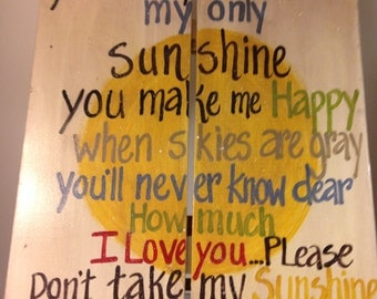 Large You Are My Sunshine On Reclaimed Wood