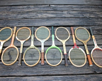 lot of 10 wooden tennis racquets for club or lodge decor