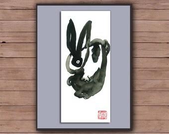 Rabbit, Chinese Zodiac Year of the Rabbit, Original Zen Art Sumi ink Painting, zen decor, childs room art , japanese illustration, bunny