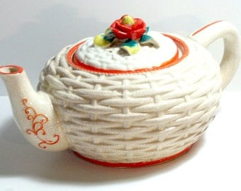 Antique Japanese Teapot, Vintage Made in Japan Teapot, Orange Floral Lattice Teapot, Orange White Ceramic Teapot, Japanese Ceramic Teapot
