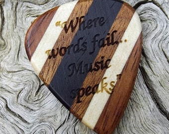 Multi-Wood Guitar Pick - Premium Quality - Handmade - Laser Engraved Both Sides - Actual Pick Shown - Artisan Guitar Pick