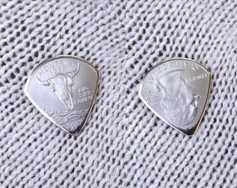 Mini Coin Guitar Pick - Premium Quality - Jazz Stubby - Handmade with a High Grade 2007 Montana State Quarter - Artisan Guitar Pick