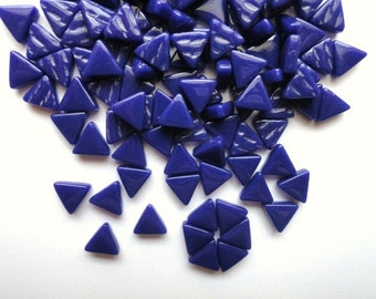 MINI Cobalt Navy BlueTriangle Shaped Mosaic Tiles 10mm//Recycled Glass Tiles//Mosaic Supplies//Jewelry Supplies//Mosaics