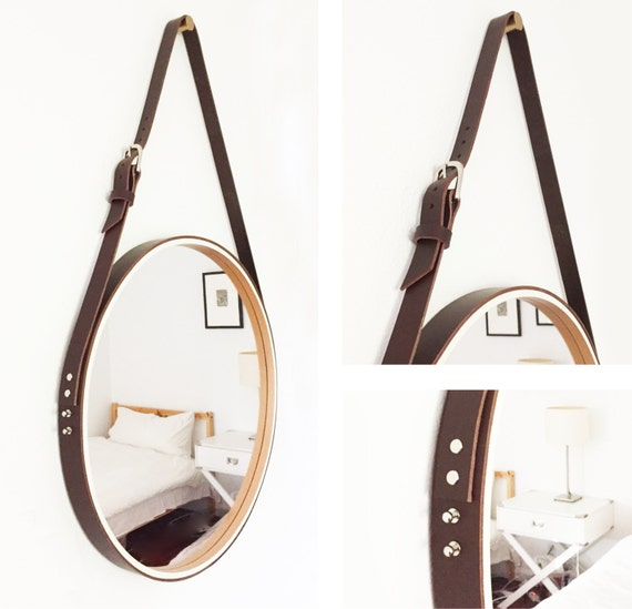 Items similar to nobi mini 20 leather strapped round for Mirror hanging kit