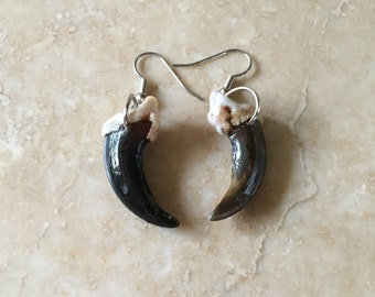 Real wolf claw earrings native american made