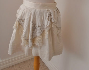 upcycled cream cotton elastane fitted waist skirt altered couture embroided vintage lace  boho chic