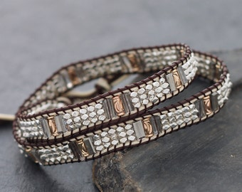 Faceted Silver Copper Brown Beaded Wrap Bracelet