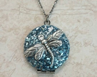 Silver Locket Necklace - Silver Dragonfly Locket attached with Swarovski Crystal - blue silver glass glitter.