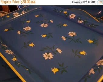 SALE Vintage Metal Serving Trays, (4) Blue w/Yellow & White Flowers, 1950s