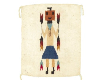 Vintage Kachina Wall Hanging * Woven Wool Folk Art * Mexican Yei Figural Weaving