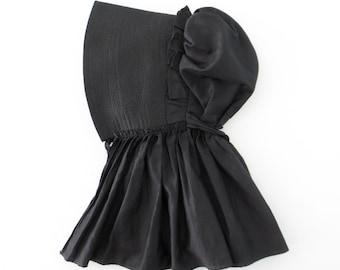 Black Antique Bonnet * 1850s Bonnet * Quilted Sunbonnet * American Gothic