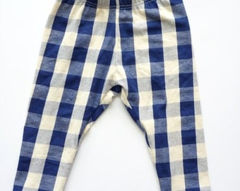 Clearance Baby Leggings | Navy Cream Plaid | Size 4T only | READY TO SHIP