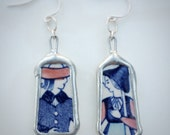 Vintage Folklore Couple Ceramic Earrings