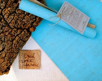 """Cork fabric 20""""x20"""" 50x50cm, cork leather, Craft from Portugal, 100% Portuguese, eco-friendly, dyed colored sky blue, vegan leather, kork"""