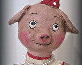 This Little Piggy - OOAK art doll- paper mache- folk art-