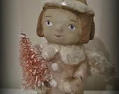 Pink Christmas  Angel - paper mache - folk art - doll - OOAK