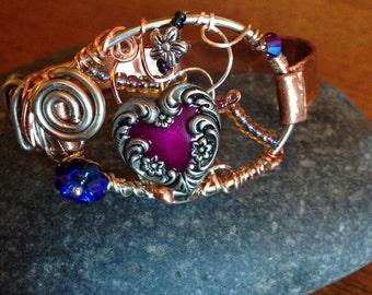 Baroque Heart Copper Bracelet