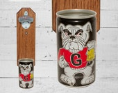College Gift Georgia Bulldogs Wall Mounted Bottle Opener with Vintage Beer Can Cap Catcher - Groomsmen Gift For Guy