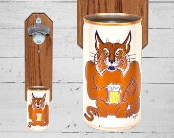 Boyfriend Gift Kentucky Wildcat Wall Mounted Bottle Opener with Vintage Beer Can Cap Catcher - Gift for Groomsmen