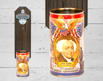 John Adams Wall Mounted Bottle Opener with Vintage Falstaff Beer Can Cap Catcher - Gift for Guy