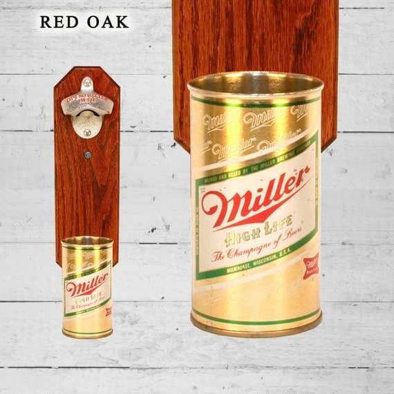 Mancave Gift Miller High Life Wall Mounted Bottle Opener with Vintage Beer Can Cap Catcher, Gifts for Groomsmen