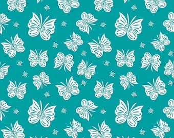 Flutter Teal in Double Gauze Fabric by Riley Blake Designs  - you choose the cut