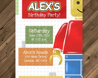 Lego party invitation printable PDF