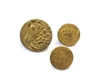Antique Industrie Parisienne Buttons One Large Two Small