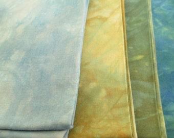 Landscape Quilt Fabric - Hand-Dyed - Woods & Water Colors - Fat Quarter Bundle - 4 FQ - QP011623