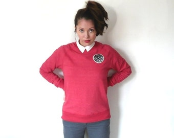 Globe - red classic sweatshirt, unisex organic cotton patch