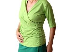 Custom tee shirt, Green blouse, Custom made top, Custom plus size wrap top, Short sleeve wrap top, XL top, XXL top, Womens tees, Plus size