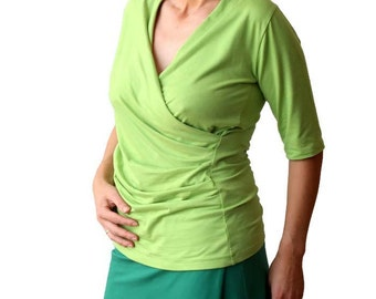 Custom tee shirt, Green blouse, Custom made top, Custom plus size wrap top, Short sleeve wrap top, XL top, XXL top, Womens tees, Plus size