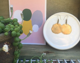 Brass Circle Drop Earrings
