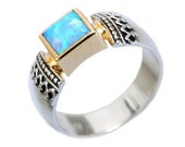 Square blue opal, October birthstone ring, Opal mixed metals ring, silver yellow gold ring, two tones ring - Triumph R0184