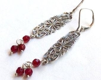 Sterling silver earrings, drop garnet earrings, boho earrings, filigree earrings, gypsy earrings, hippie earrings - In your arms - E8030
