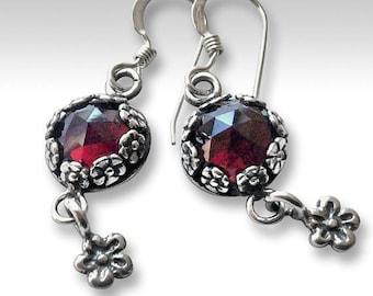 Garnet earrings, casual gypsy earrings, silver floral earrings, hippie earrings, nature earrings, unique earrings for her - Juliette E8012