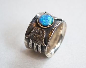Silver gold ring, opal ring, Hamsa silver ring, hand of fatima ring, Twotone ring, statement ring, boho ring, tribal - Feel the magic R2269