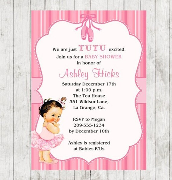 tutu baby shower invitation pink tutu 10 printed invitations