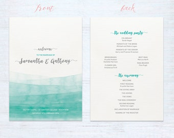 Double sided program cards – Watercolour