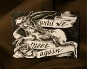 Original Pen and Ink ACEO Rabbit Rose Ribbon Art Card - Until