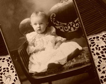 Vintage Cabinet Card, Victorian Baby, Christening, Baby Girl, Antique Photograph, Ephemera, Black and White Photo