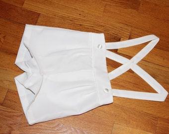 White suspender shorts size 4T