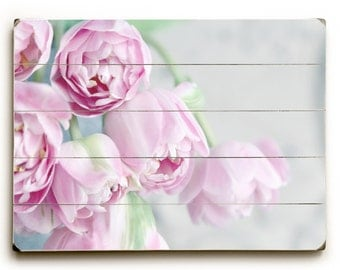 Wood Plank Art, Pink Tulips on Wood, Tulip Photograph, Flower Sign, Pink Bedroom Decor, Bathroom Decor, Wood Wall Art, Flowers on Wood Sign