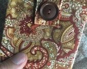 Thin Billfold wallet - coral paisley - coin pocket FREE SHIPPING