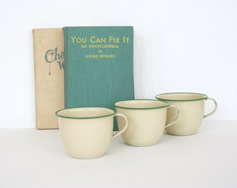 Vintage enamel cups from Czechoslovakia. Pale yellow and green enamel cups, set of three, camping, industrial, metal cups, soviet era