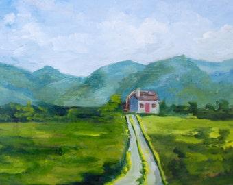 12 x 16 Modern Impressionist Original Oil Painting of Irish Cottage Landscape by Rebecca Croft