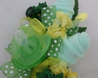 Tractor Themed Baby Shower Corsage - Baby Boy Corsage - Pin On Floral Corsage - Pacifier and Washcloths - Baby Shower Items