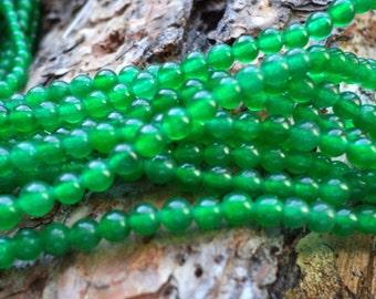 Destash Green Jade Round 4mm beads 17 in strand