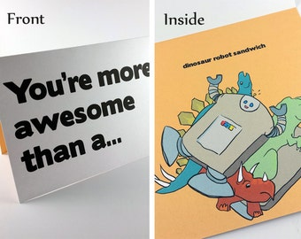 Awesome Robot Dinosaur Sandwich 5x7 Card