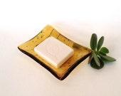 Amber Fused Glass Soap Dish - Jewelry Dish - Kitchen Dish - Handmade Bathroom Decor - Amber Gold Yellow Glass